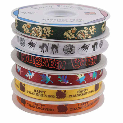 Assorted Design Fall Holiday Ribbon Kit 6 Rolls by Fancy Finishes - 50 Yards Each