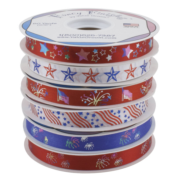 Fancy Finishes Patriotic Ribbon Kit for Groomers includes 6 Rolls