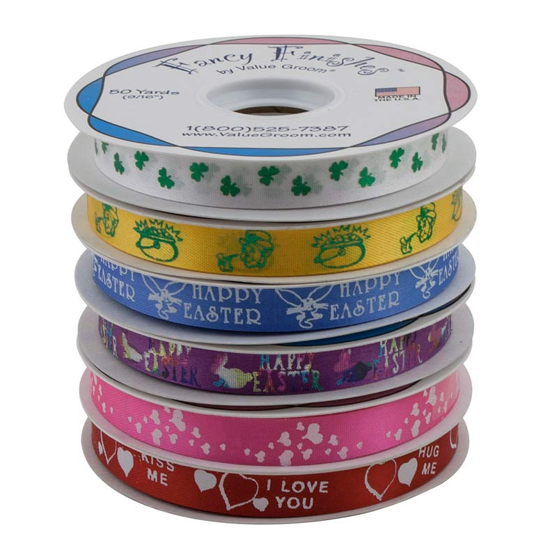 Spring Holiday Printed Ribbon Kit for 6 Rolls includes Easter, Valentines and St Patricks Day Ribbon