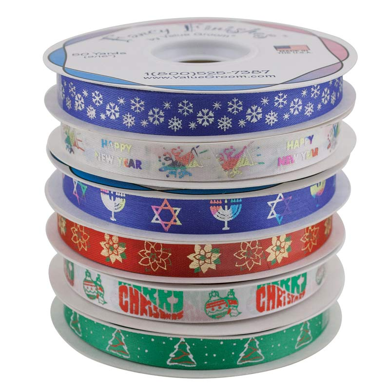 Winter Holiday Ribbon Kit includes New Year and Hanukkah and Christmas Ribbons