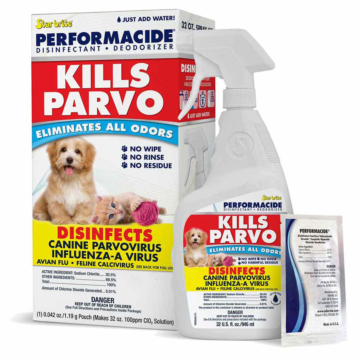 Star brite Performacide 32 oz Single Kit - Disinfects, Deodorizes and Kills Parvo