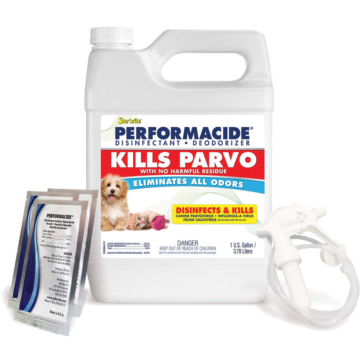Disinfect, Deodorize and Kill Parvo with Star brite Performacide Gallon Kit 3 Pack