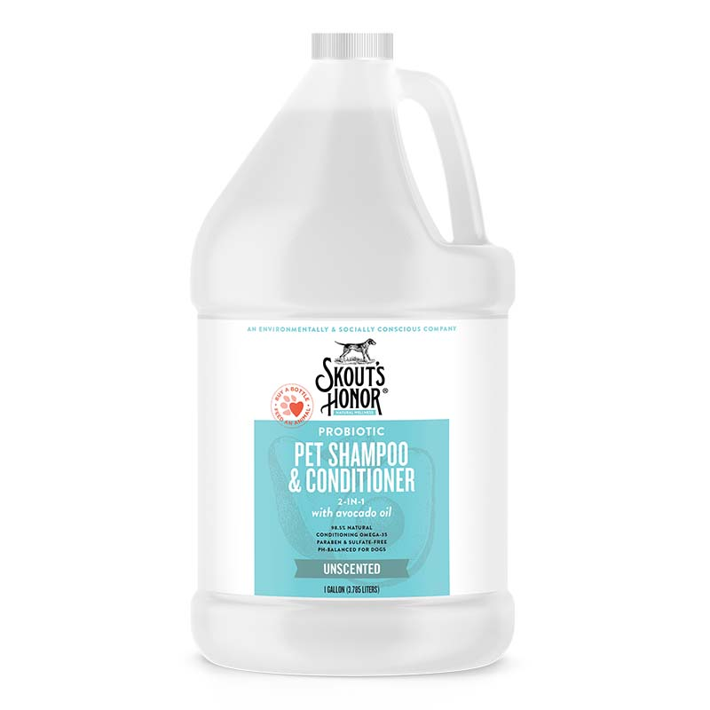 Skout's Honor Unscented Probiotic Shampoo Plus Conditioner Gallon at Ryan's Pet Supplies