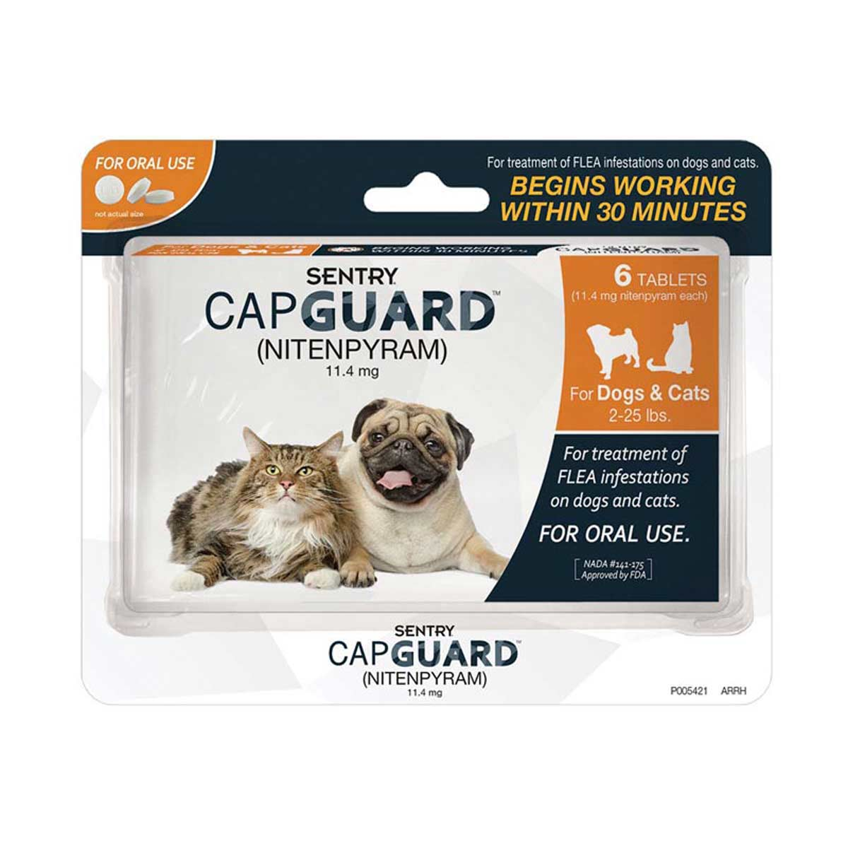 6 Count Sentry Capguard Flea Tablets for Dogs and Cats 2-25 lbs