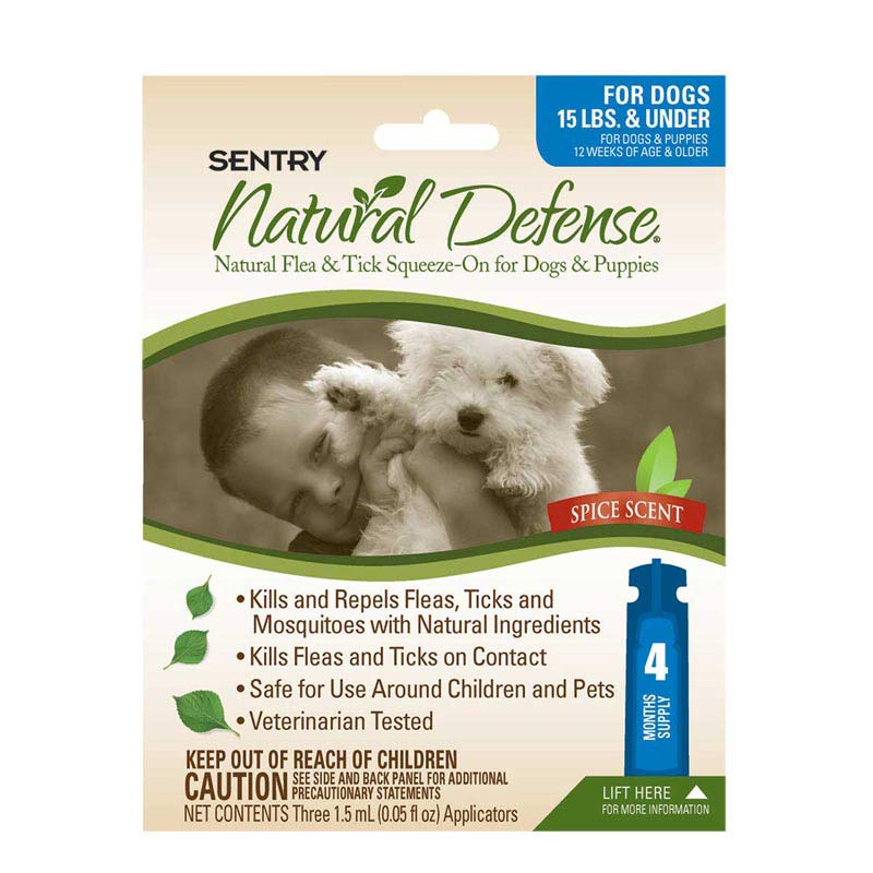 Sentry Natural Defense Flea and Tick Squeeze-On for Dogs Under 15 lbs 4 Count
