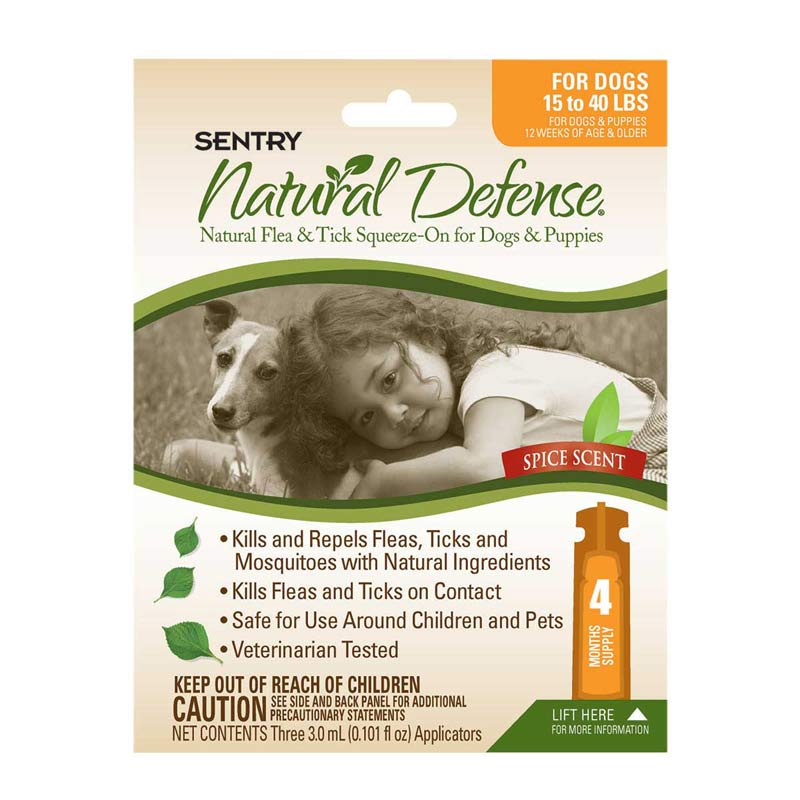 4 Count Sentry Natural Defense Flea & Tick Squeeze-On for Dogs 15-40 lbs