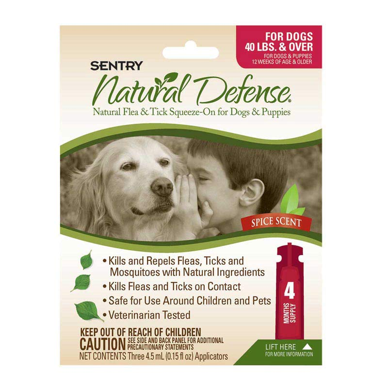 Sentry Natural Defense Flea and Tick Squeeze-On Over 40 lbs 4 Count