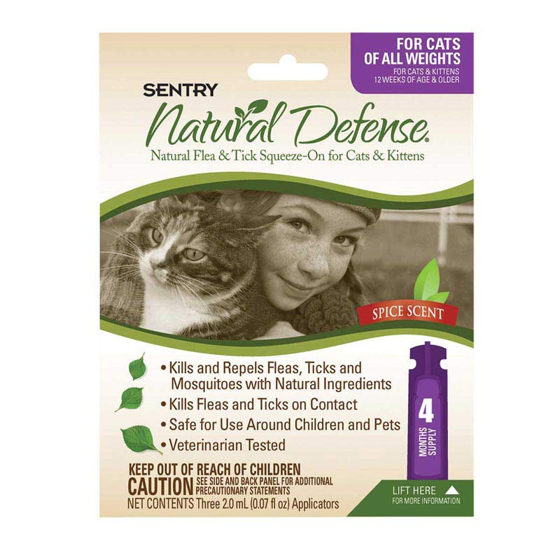 Sentry Natural Defense Flea and Tick Squeeze-On for Cats 4 Count