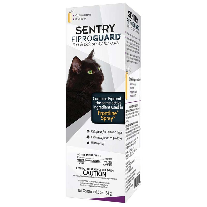 Sentry Fiproguard Spray For Cats 6.5 oz - Kills Fleas and Ticks