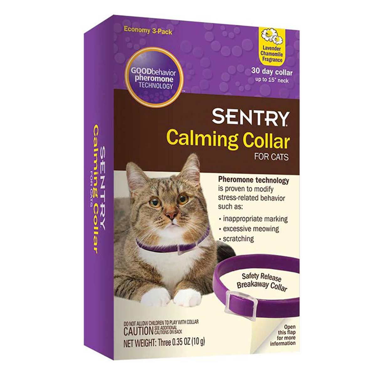 Sentry Calming Collars For Kittens and Cats Up To 15 inch 3 Pack