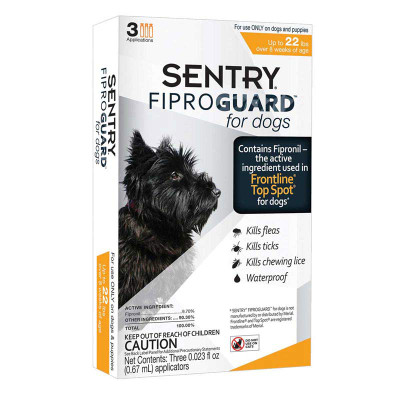 Sentry Fiproguard Topical For Small Dogs Squeeze-On Flea and Tick Treatement 4-22 lbs 3 Count