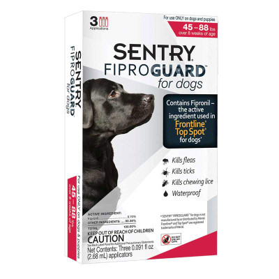 Sentry Fiproguard Topical For Dogs Squeeze-On 45-88 lbs 3 Count
