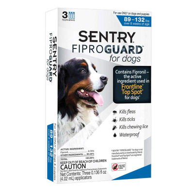 Sentry Fiproguard Topical For Extra Large Dogs Squeeze-On 89-132 lbs 3 Count