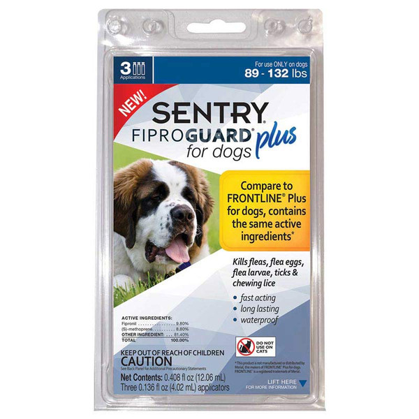 3 Month Sentry Fiproguard Plus For Dogs 89-132 lbs