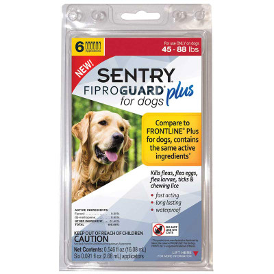Sentry Fiproguard Plus For Dogs 45-88 lbs 6 Month