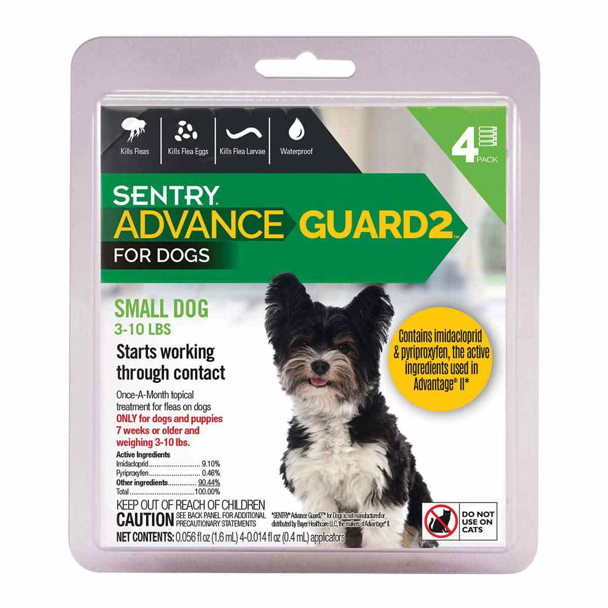 Sentry Advance Guard 2 Small Dog 3-11 lbs 4 Count