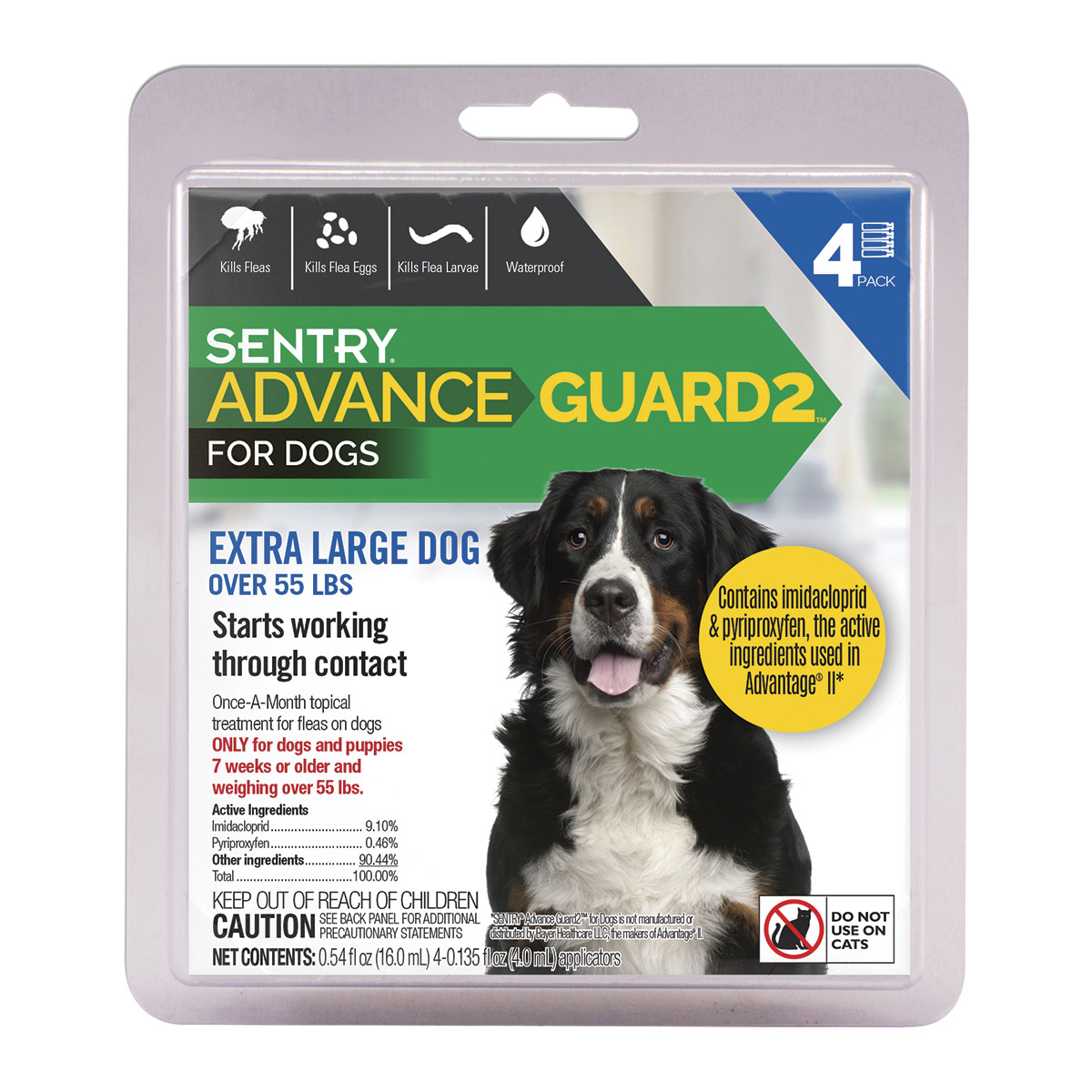 4 Pack Sentry Advance Guard 2 Extra Large Dog Over 55 lbs