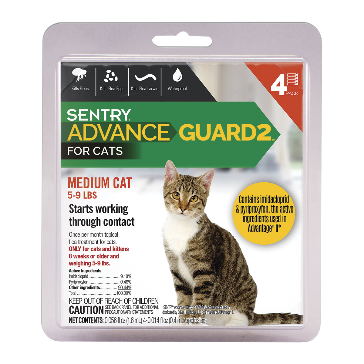 4 Count Sentry Advance Guard 2 Small Cat 5 - 9 lbs
