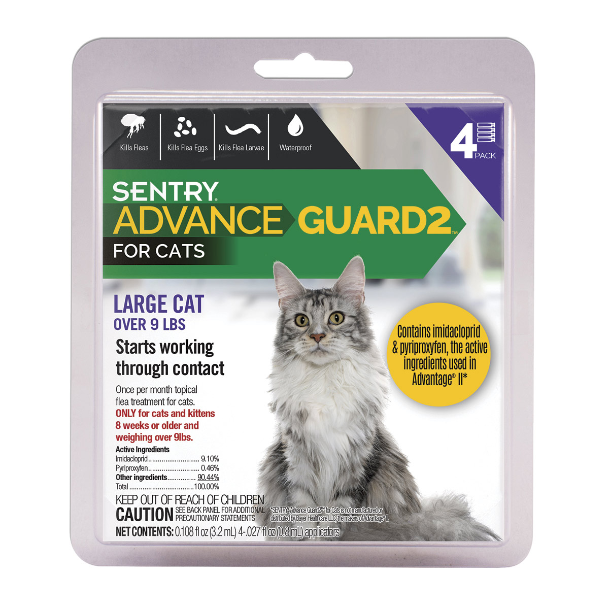 Sentry Advance Guard 2 Flea and Tick Treatment for Large Cat Over 9 lbs 4 Count
