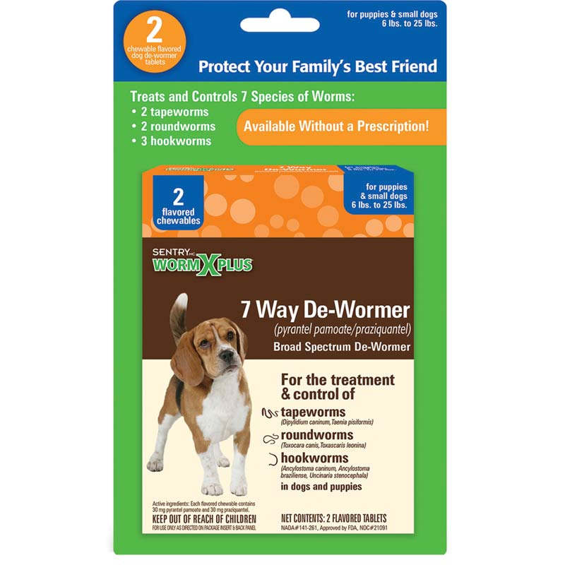 2 Count Sentry Worm X Plus 7 Way De-Wormer Small Dog