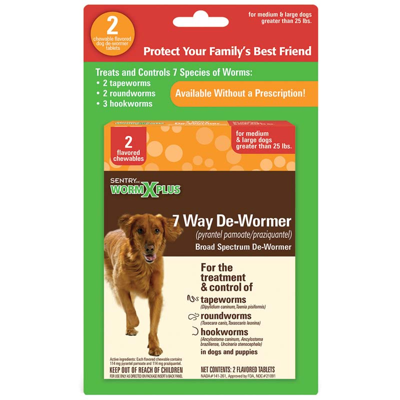 Sentry Worm X Plus 7 Way De-Wormer for Large Dogs 2 Count