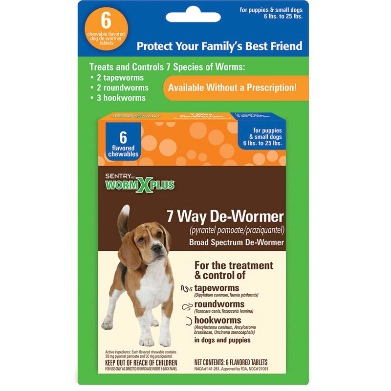 Sentry Worm X Plus 7 Way De-Wormer for Puppies and Small Dog 6 Count