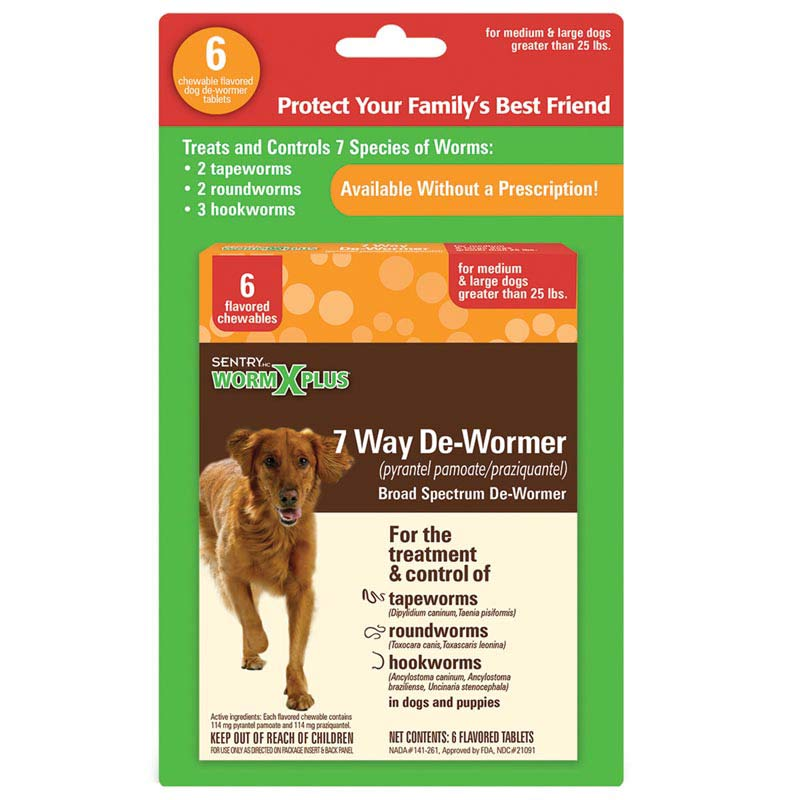 Sentry Worm X Plus 7 Way De-Wormer for Large Dog 6 Count