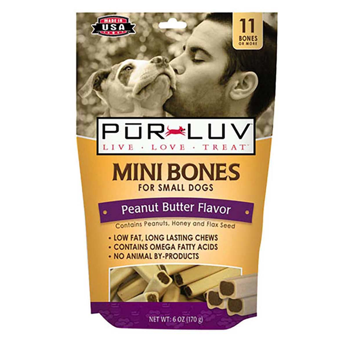 Pur Luv Mini Bones Peanut Butter 11 Count/6 oz