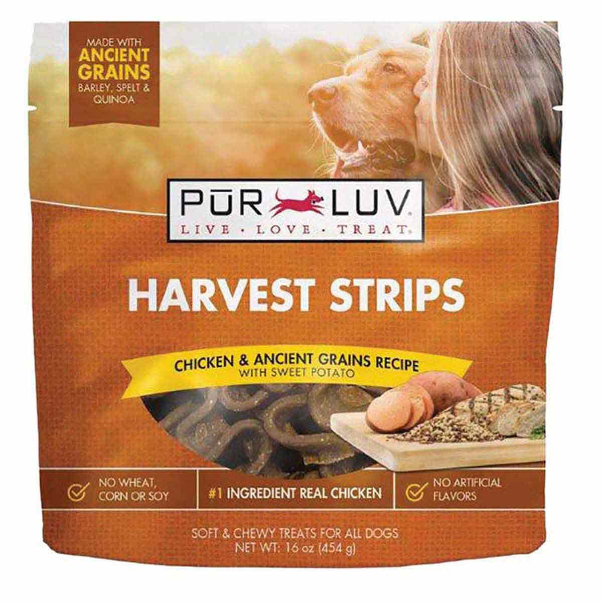Pur Luv Harvest Chews Strips 16 oz Chicken and Sweet Potato Dog Treats