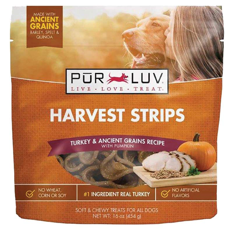 Pur Luv Harvest Chews Strips 16 oz Turkey and Pumpkin Treats for Dogs
