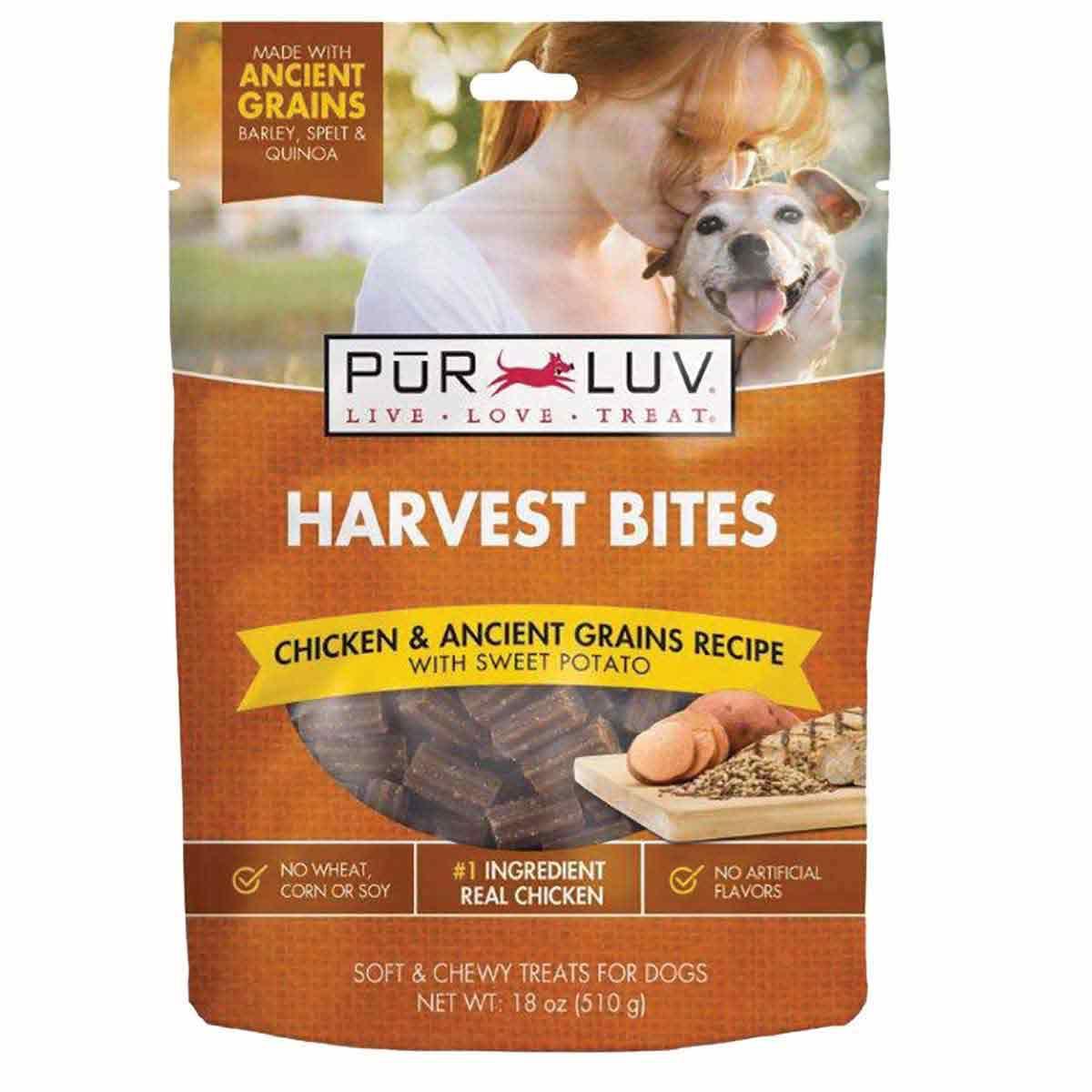 Pur Luv Harvest Chews Bites 18 oz Chicken & Sweet Potato Treats for Doggos