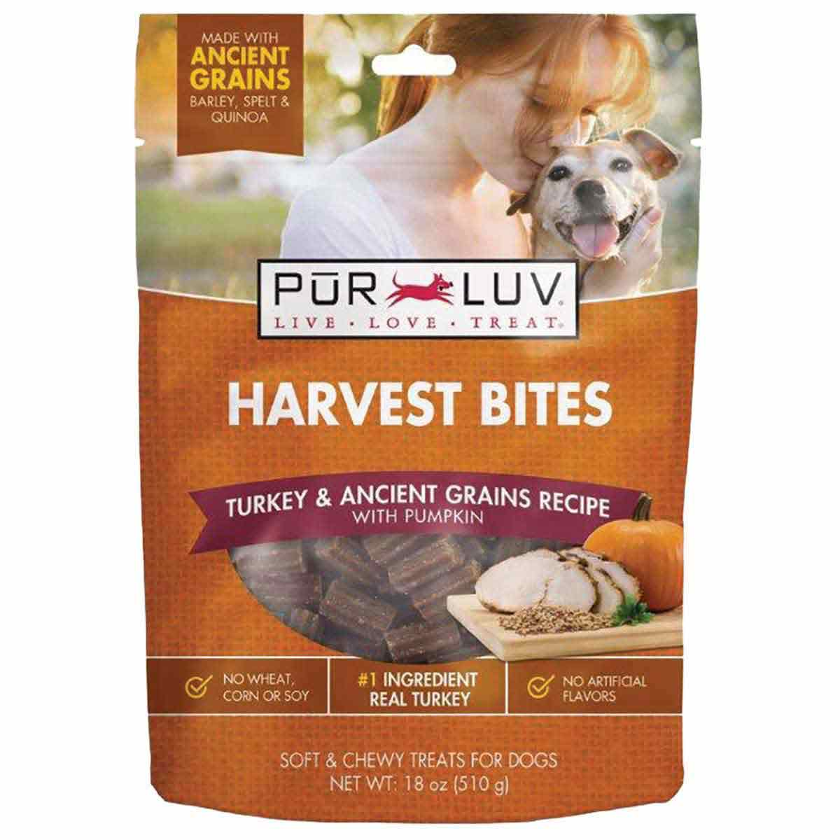 Dog Treats Pur Luv Harvest Chews Bites 18 oz Turkey & Pumpkin