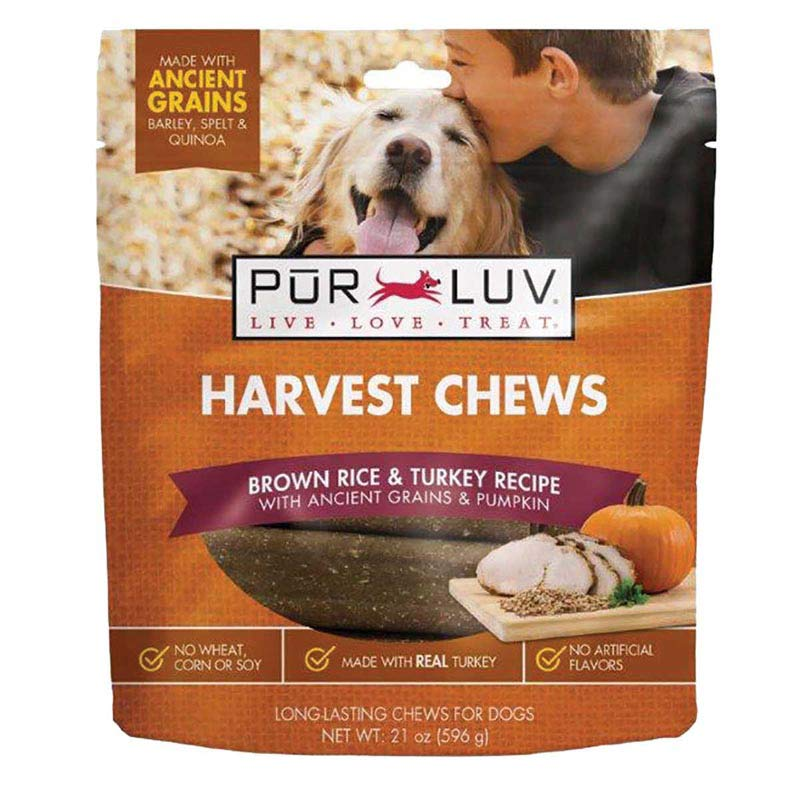 Pur Luv Harvest Chews 21 oz Turkey and Pumpkin Long Lasting Chews for Dogs