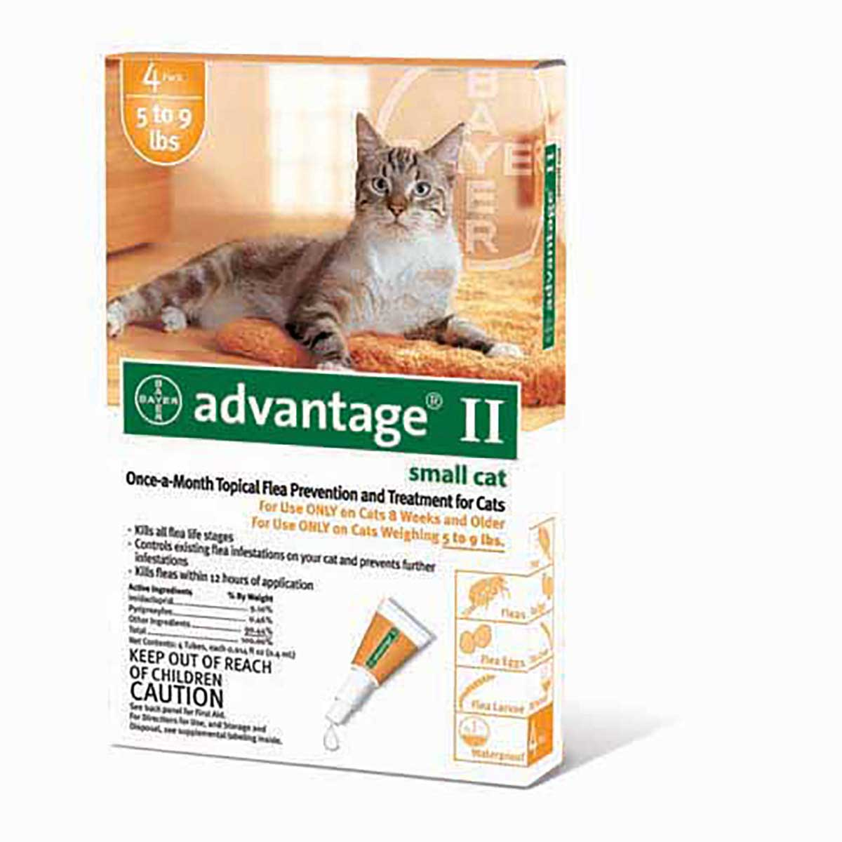 Advantage II Orange Flea Treatment Cats 9 lbs and Under - One Month
