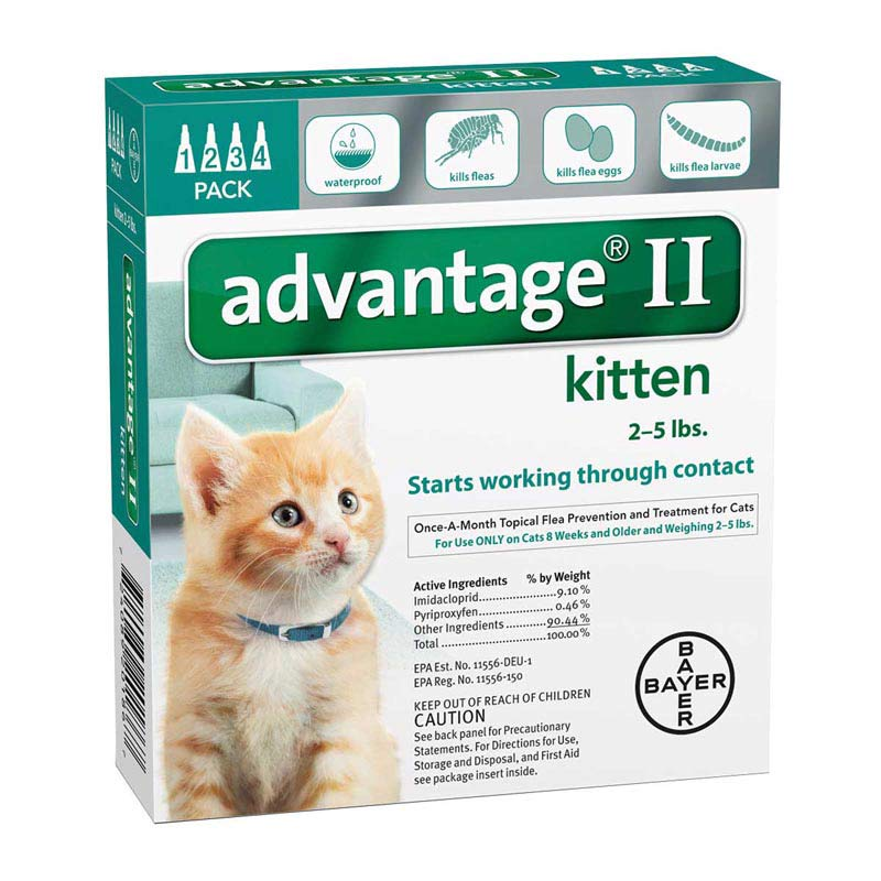 Advantage II Turquoise Flea Treatment Kittens 2-5 lbs 4 Pack
