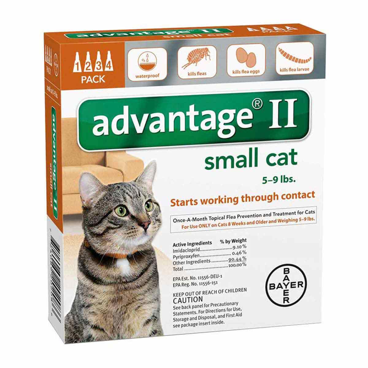 4 Pack Advantage II Orange Flea Treatment for Cats 5-9 lbs