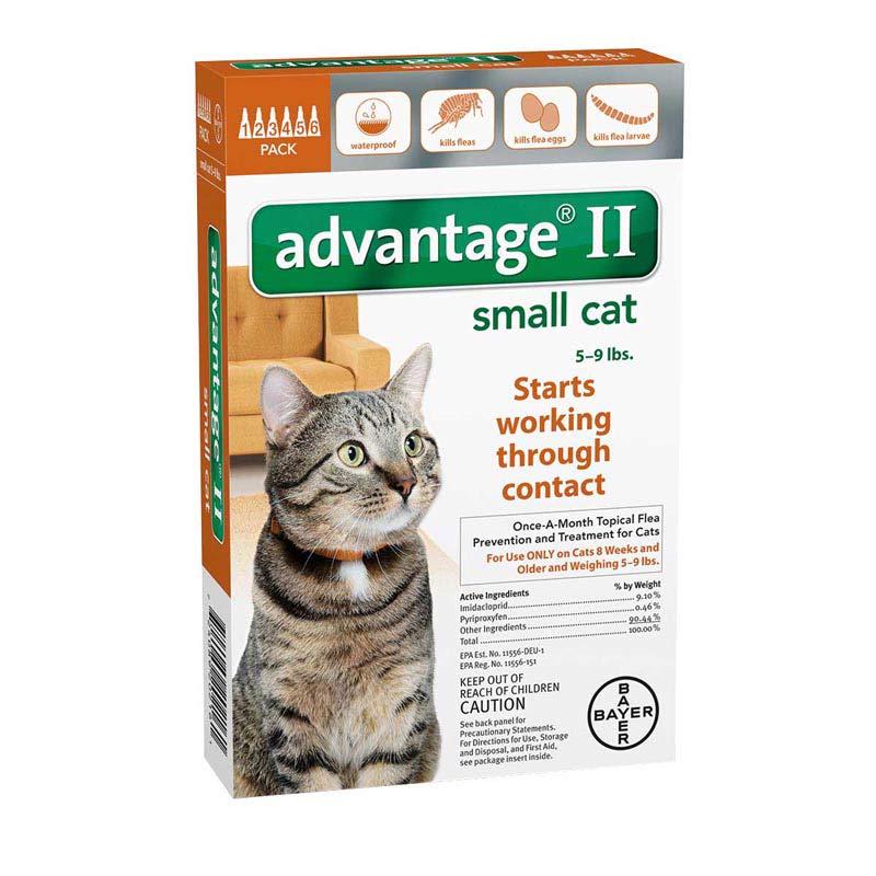 Advantage II Orange Flea Treatment for Cats 5-9 lbs 6 Pack