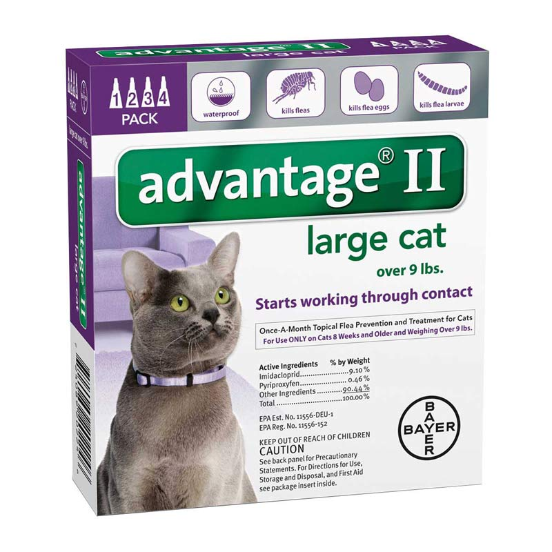 Advantage II Purple Flea Treatment for Cats Over 9 lbs 4 Pack