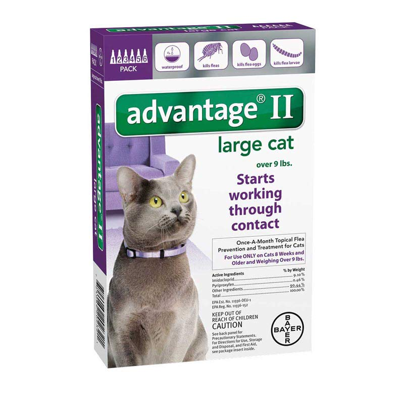 Advantage II Purple Flea Treatment for Kitty Cats Over 9 lbs 6 Pack