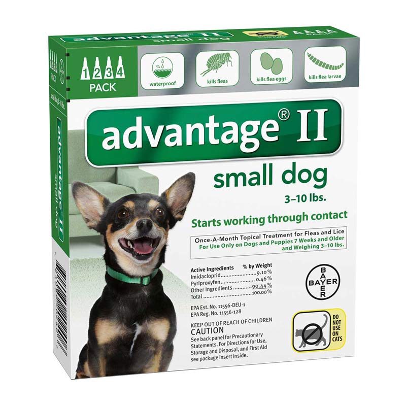 Advantage II Green Flea Treatment for Dogs 3-10 lbs 4 Pack