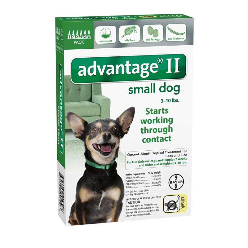 6 Pack Advantage II Green Flea Treatment for Dogs 3-10 lbs