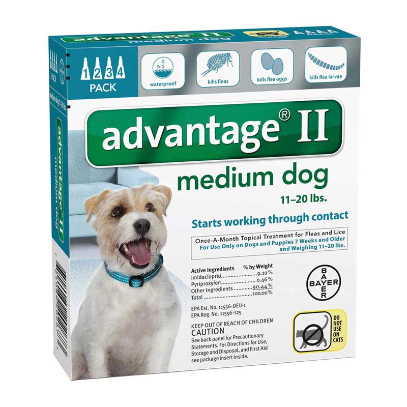 Advantage II Teal Flea Treatment for Dogs 11-20 lbs 4 Pack