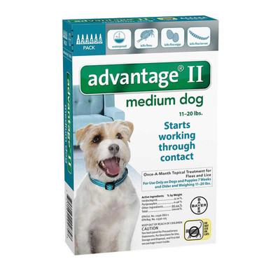 Advantage II Teal Flea Treatment for Dogs 11-20 lbs 6 Pack