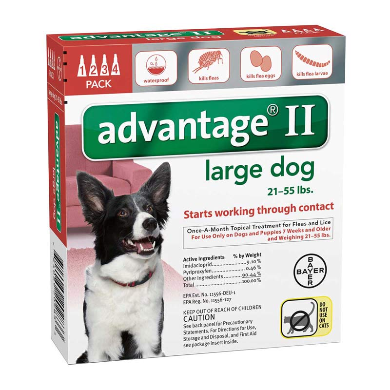Advantage II Red Flea Treatment for Dogs 21-55 lbs 4 Pack