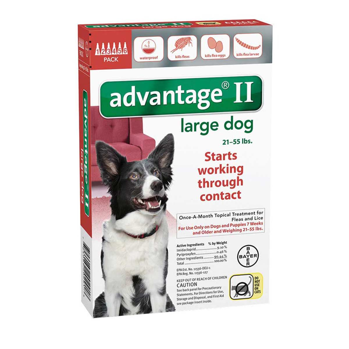 Advantage II Red Flea Treatment for Medium Dogs 21-55 lbs 6 Pack