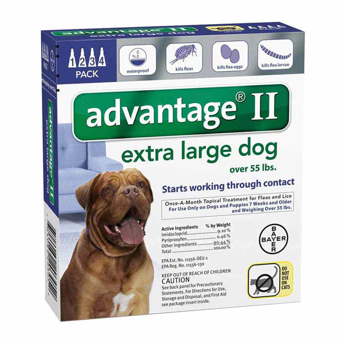 Advantage II Blue Flea Treatment for Extra Large Dogs Over 55 lbs 4 Pack