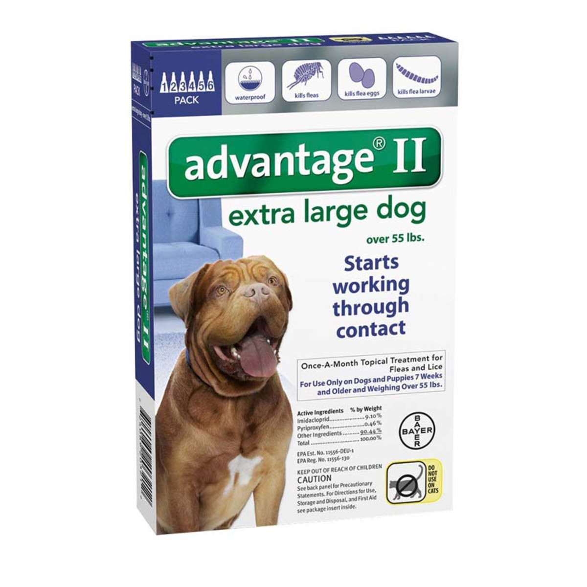 6 Pack of Advantage II Blue Flea Treatment Extra Large Dogs Over 55 lbs