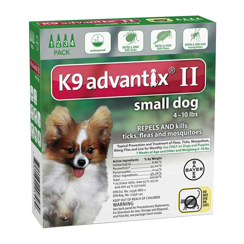 4 Pack K9 Advantix II Green Flea Treatment for Dogs 4-10 lbs
