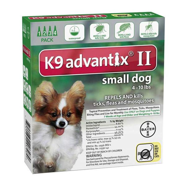 4 Pack K9 Advantix II Green Flea Treatment for Dogs 4-10 lbs