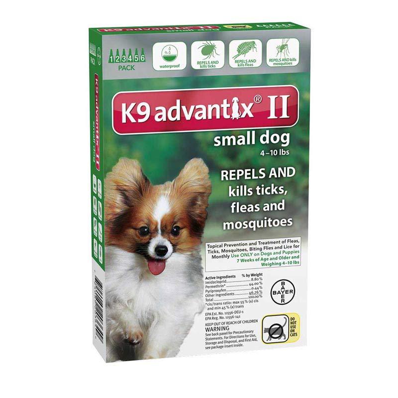 6 Pack K9 Advantix II Green Flea Treatment for Dogs 4-10 lbs